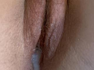 Cum dripping out of her pussy