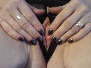 Rubbing her cum into her pussy after I made her cum with my tongue. Anyone like a turn?
