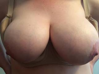Those are super big, firm, tits, with dark wide areola round those nipples I'd love to suck