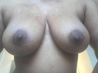 Wow! I'll say they're more than a mouthful! Your beautiful tits are more than a handful! I'll still try to suck em all into my mouth though!! Will you squeeze those big beauties around my big thick cock and milk it until it explodes all over your sexy neck and amazing tits?