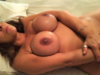 what a combination a good looker with fabulous big, shapely, tits and sexy crinkly skinned dark brown areola round superb nipples I'd love to suck. 'd next have to lick your gorgeous pussy.....