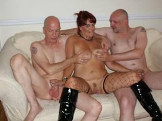 Chrissy rubbed the guys cocks before sucking them xxx
