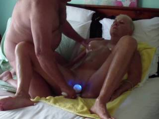 Pt 2 of 4. Fingers, Toys & Fuck. I continue to work her pussy hard, then bring in her fav toy. She loves to be fucked long & deep with this massager.