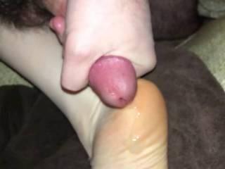 Cumming on my girls sole in slow motion.  God it felt good!