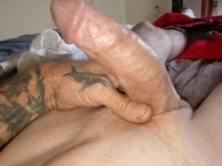 Laying around bored so I played with my cum dripping cock so what do you guys and ladies think