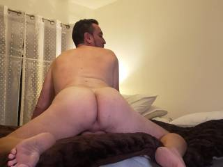 About to take that perfect ass with my tongue then strapon.   First need to spank jt and get a handful of that ass!