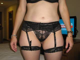 Very horny---wish I was there to help you. Mind you I'd leave most things on, just push those knickers to one side and f*ck you hard !!
