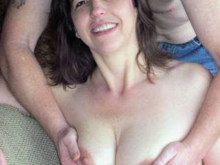 Getting My Boobies squeezed at the beginning of a swinger\'s party. Just the start of the fun