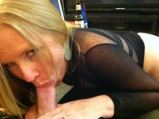 After trying on my new outfit, hubby couldn\'t take it anymore and made me drop to my knees.