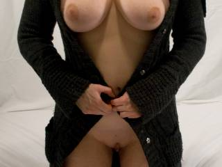 mmm, well having your beautiful tits and gorgeous pussy exposed probably isn't helping with keeping warm .... but PLEASE don't stop! :)