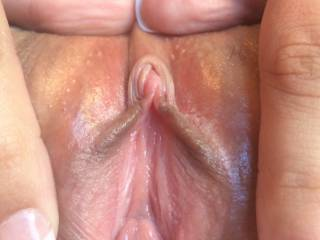 A magnificent point of view of her sweet beautiful pussy