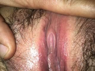 Wife's dripping pussy after licking on her clit