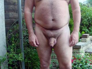 Hubby running around the back yard naked.