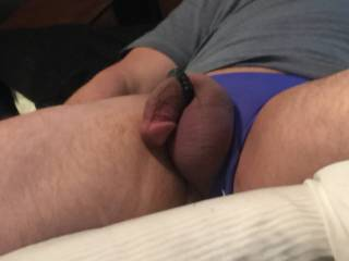 Bulge slipped outside of undies, laying out