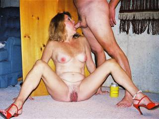 Totally spread my legs wide! My pink pussy open with huge cock deep in my mouth!!!! Still choking on cum!!!! do I look sexy in this pic?